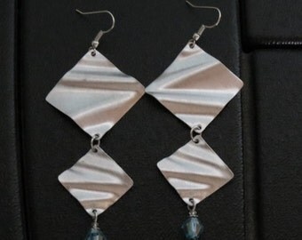 Diamond + Diamond ... lightly brushed aluminum earrings