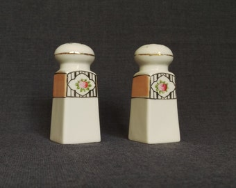 Vintage White and Tan Salt and Pepper Shakers