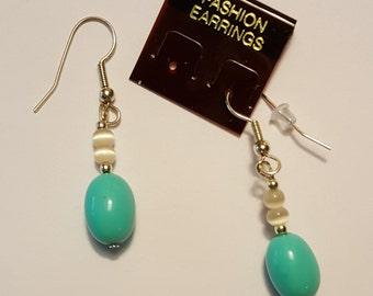 Turquoise/Salmon Glass Drop Earrings