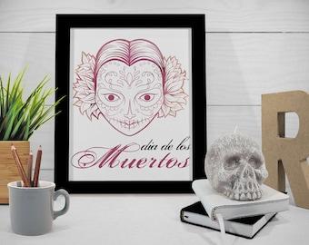 Sugar Skull Printable, Dia de los Muertos Watercolor, Day of the Dead Wall Art, Skull Illustration, Halloween Decor, 8x10 Instant Download