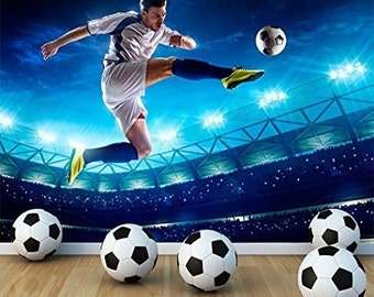 Football Soccer Player Wall Mural Photo Wallpaper Boys Kids Bedroom Playroom Football Stadium WM-075