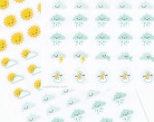 58 weather stickers, weather trackers, sticker sheet, weather icons, kawaii stickers, hand drawn planner stickers, weather planner stickers,