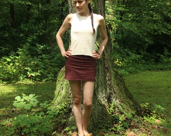 organic stretch mini skort - hemp and organic cotton custom made and hand dyed