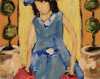 Female Figure, Original Painting, Fashion, Shopping, Blue Dress and Hat, Winjimir, 8x10