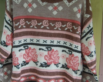 Vintage 80s Floral Nordic Tribal Baggy Oversized Sweater Size L