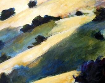 landscape oil painting print 11x17 California landscape rolling hills and oaks fine art large format