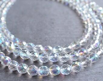 The Anna Marie- Clear AB Czech Glass Chunky Necklace