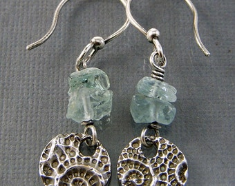 Sea Pod PMC Recycled Fine Silver and Aquamarine Artisan Textured Circle Earrings SRAJD