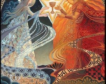 Alchemical Wedding Sacred Marriage Goddes Art 12x18 Print Pagan Mythology Bohemian Gypsy Goddess Art