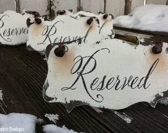 Wedding Reserved Sign. Reserved Chair Sign. Reserved Table Sign. Reserved Row. Wedding Signs. Shabby Chic Wedding. Distressed Signs.