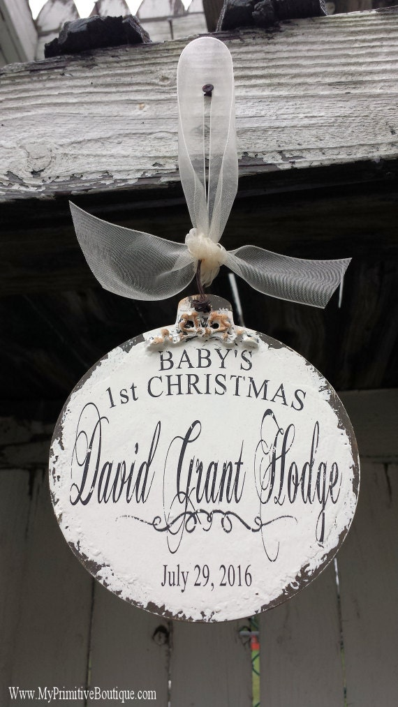 PERSONALIZED CHRISTMAS ORNAMENT | Babys First Christmas Ornament | Custom Name Ornament | Christmas Ball Ornament | Vintage | Shabby Chic