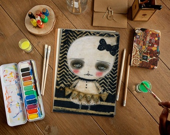 Spookier little ghost girl - Halloween mixed media painting print Danita Art, whimsical girl mounted on wood or frameable paper print