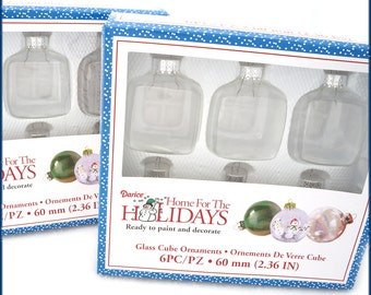 """12 Clear Glass Cube  2"""" Squares 2-3/4"""" High - Create Your Own Christmas Ornaments Ready to Paint - DIY Supplies"""