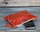 Medium Leather Zipper Pouch  / Raw Edge  Zippered Purse /  Phone Case / Camera Wristlet / Leather Clutch For Fall