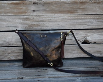 Little Brown Cross Body Bag / Zippered Handbag / Handmade Leather Purse / Dark Brown Leather Bag / Everyday Bag / READY TO SHIP