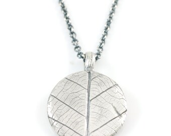 Leaf Imprint Pendant in Sterling Silver - Ready to Ship