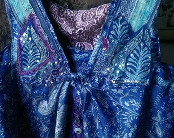 Indigo Dress, Floaty, Silk, Purple, Vintage Embroidery, Beautiful Dress, Vintage Lace, Bohemian, Rustic