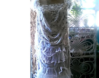 Beaded White Dress, Ruffles, Mother of Pearl, Off Whites, Vintage Lace, Party Dress, Pretty Dress, Ethereal, Flapper Style, Boho