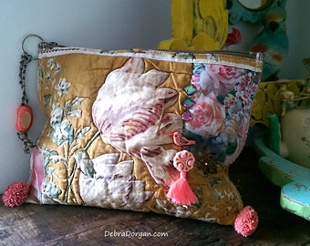 Antique Quilt Purse,Silk, Recycled, Faded Roses, Birdy, Vintage Button, Pom Poms, Boho Purse, Clutch