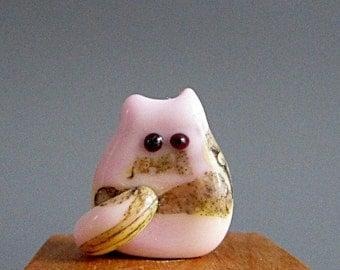 Pink Kitten Bead Handmade Lampwork Focal -  Lovey Itty Bitty FatCat