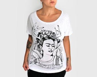 Small-  Tri-Blend White Dolman Tee with Frida Screen Print-