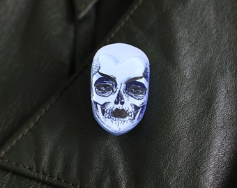 Blue acrylic Phantom Face pin