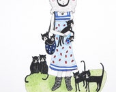 Art Print Crazy Cat Lady with Eight Cats