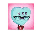 Kiss Me, conversation candy heart, valentine, archival print of an original illustration by Anna Tillett Designs