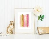 Girly Glitter Lipstick Print / Pink and Gold Abstract Print / Feminine Wall Art / Fashion Wall Art / Up to 11x14 Print / Glitter Print
