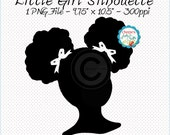 Little Girl Silhouette, African American Girl Silhouette, Natural Hair Afro Puffs Hair Style Clip Art, Natural Hair Little Black Girl, Art