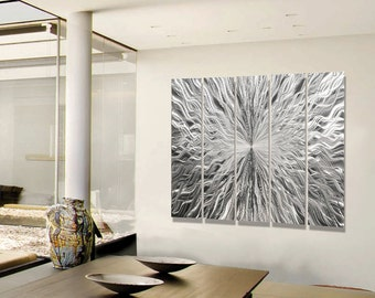 Silver And Gold Wall Art gold & silver metal panel painting modern metal wall art