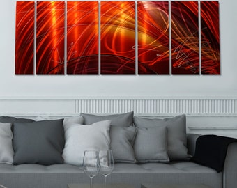 Large Vibrant Red & Earthtone Hand Painted Dynamic Modern Wall Sculpture - Abstract Wall Painting - Tail Spin II By Jon Allen