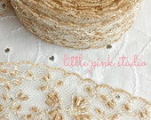 Vintage beige embroidered lace trim (new old stock)