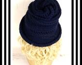 Navy Blue Crochet Hat Womens Hat Steampunk Hat Crochet Wide Brim Hat Women Navy Blue Hat, Navy Hat, Winter Hat, VIRGINIA Wide Brim Hat
