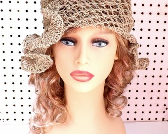 Crochet Sun Hat for Women,  Floppy Sun Hat Womens Floppy Hat,  Hemp Hat in Natural with Ruffle,  Cynthia Bucket Hat