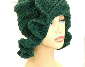 Crochet Cloche Hat 1920s,  Womens Crochet Hat,  Crochet Womens Hat 1920s,  Forest Green Hat,  Cynthia 1920s Cloche Hat with Ruffle