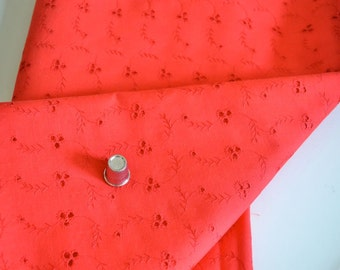 Red Eyelet Cotton Fabric Vintage Bright Red Classic by the Yard