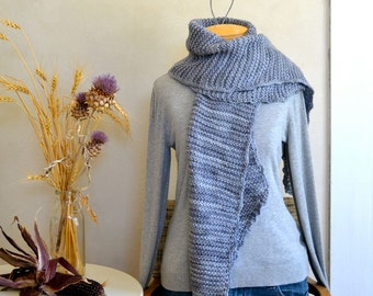 Hand Knit Wide Scarf / Wrap Soft Light Wool Hand Dyed Gray