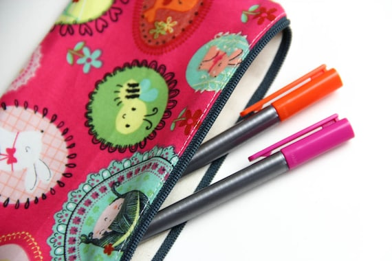 Pencil case - Zipper pouch - birds - bees- doll - pink - yellow - green - toys - jewelry - pencils - handbag - gift - girl - Easter