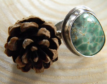 Gorgeous Australian Variscite Ring - size 6 - Sterling Silver - Rustic