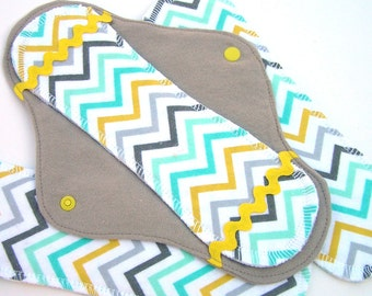 JazzyPads Cloth Menstrual Pad Set (Maxi gray yellow teal chevron) by tamarack