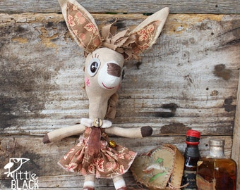 Rachel, whimsical donkey, collectible cloth doll, primitive, folk art doll