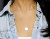 Sideways Cross Necklace, Silver Layered Necklaces Set / Initial Necklace, Double Necklaces / Layering Necklace, Personalized Necklace Silver