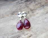Ruby earrings, red gemstone jewelry, sterling silver post earrings, gift for wife girlfriend, small earrings