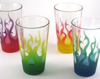 Tribal Flames Pint Glasses - Set of 4 - Etched and Painted Glassware - Custom Made to Order