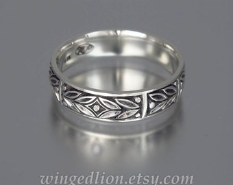 EVERGREEN LAUREL silver mens wedding band unisex ring