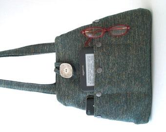 Blue handbag, shoulder bag, Turquoise purse, tote bag, fabric purse, hobo bag, bag with pockets, everyday bag, ready to ship