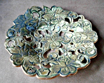 Ceramic Moss green carved decorative Dish edged in gold