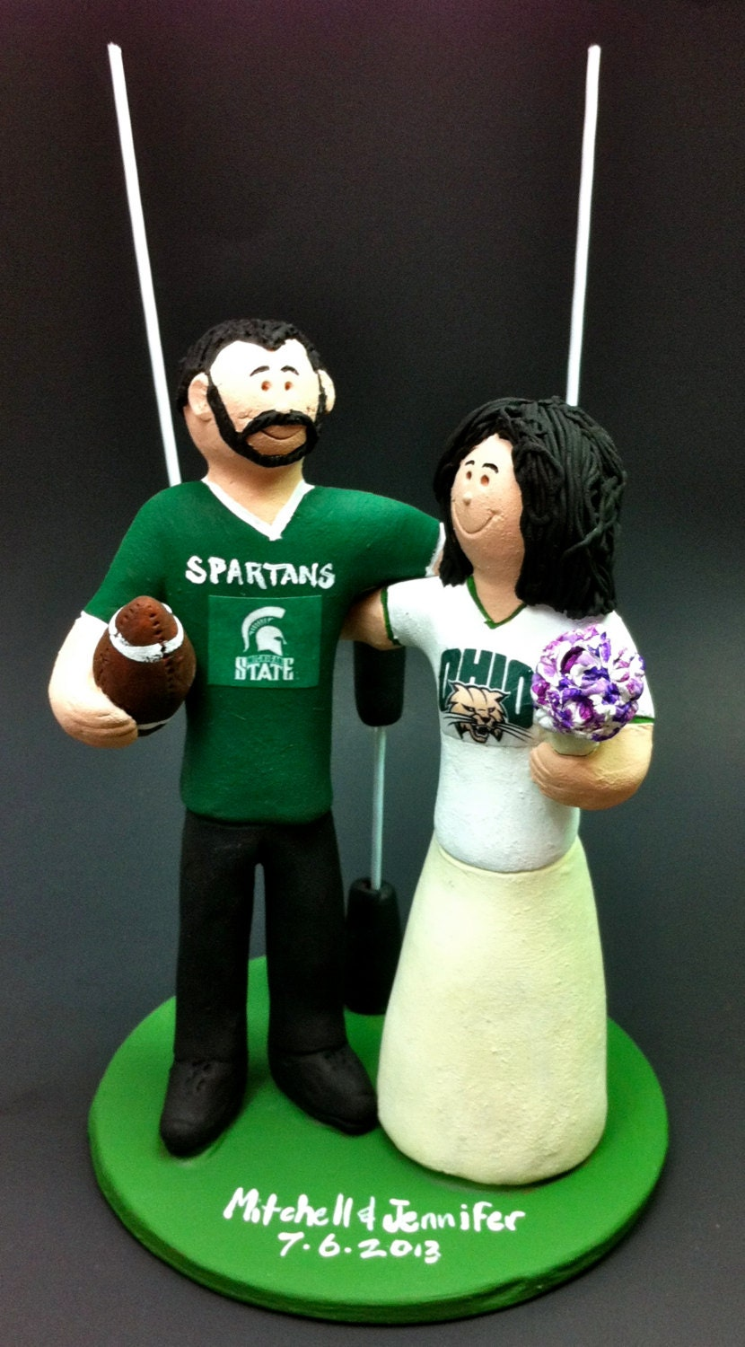 ohio state michigan wedding cake toppers michigan state spartans groom wedding cake topper ohio 17977
