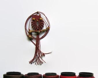 Rust Macrame Owl Necklace - Adjustable Lenght
